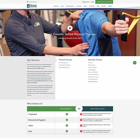 picture of penrose physical therapy website